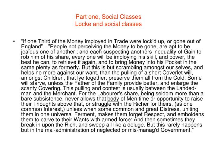 Part one, Social Classes