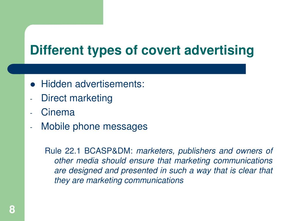 Different types of covert advertising