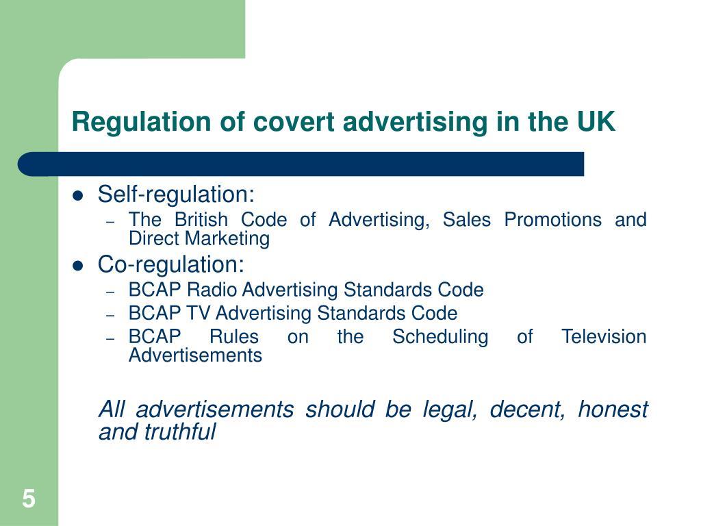 Regulation of covert advertising in the UK