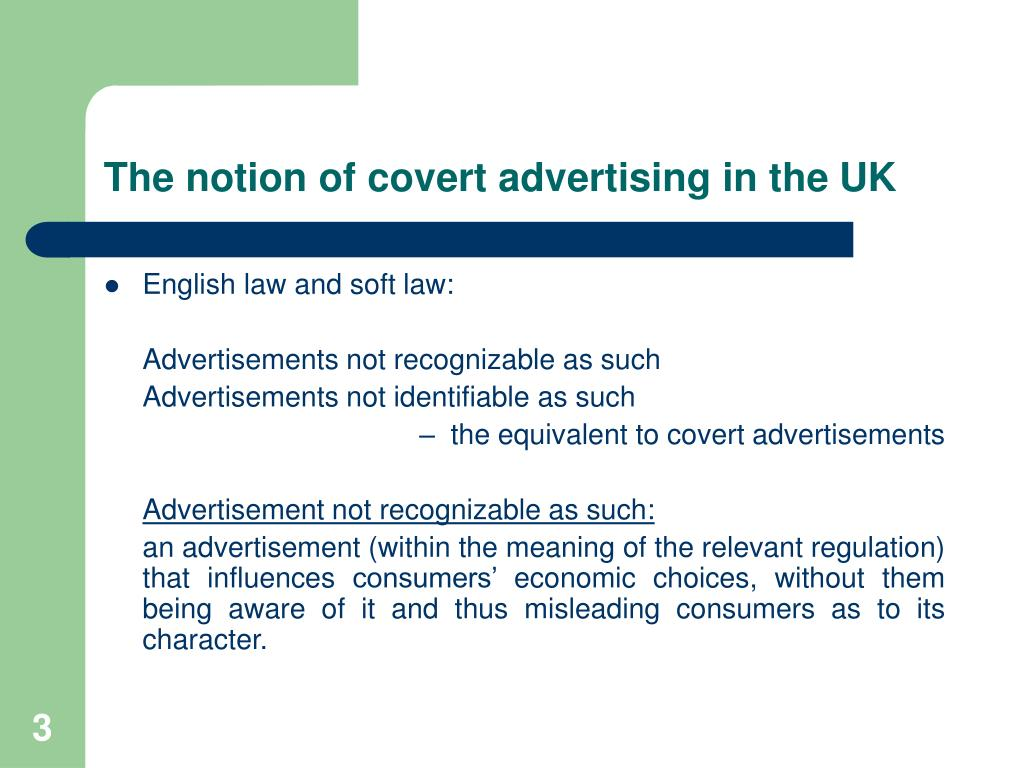 The notion of covert advertising in the