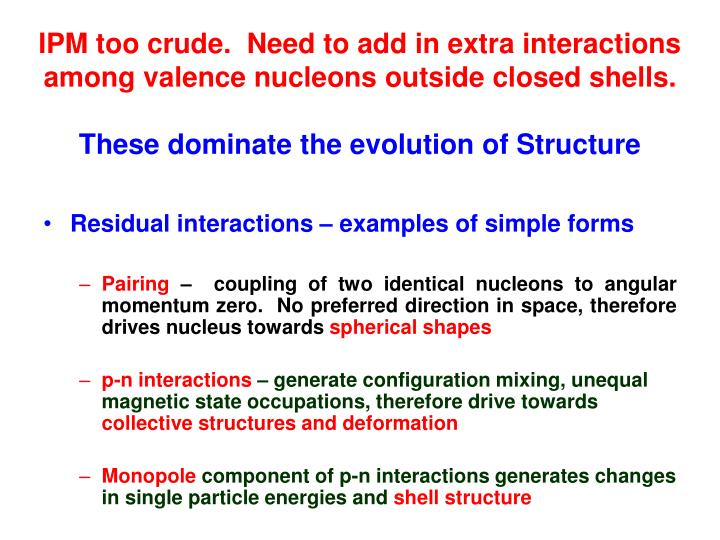 IPM too crude.  Need to add in extra interactions among valence nucleons outside closed shells.