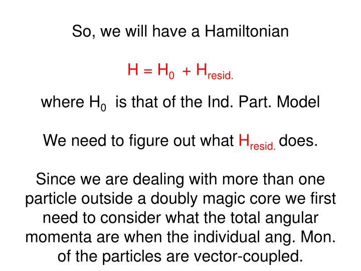 So, we will have a Hamiltonian