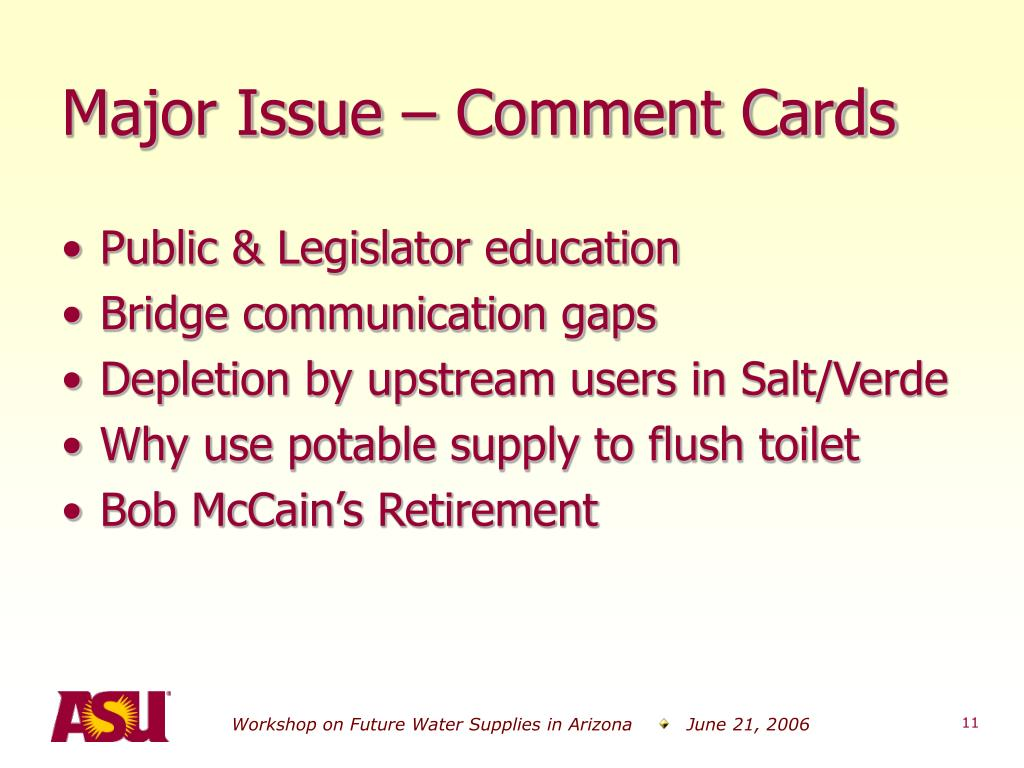Major Issue – Comment Cards