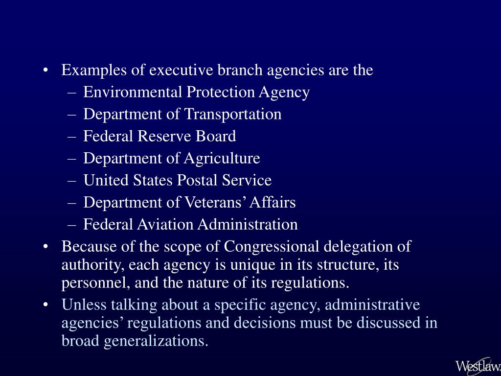 Examples of executive branch agencies are the