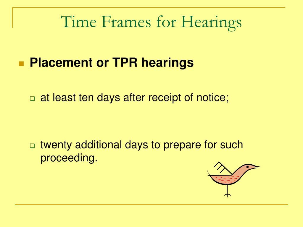 Time Frames for Hearings