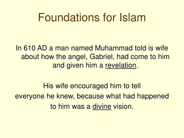 Foundations for islam