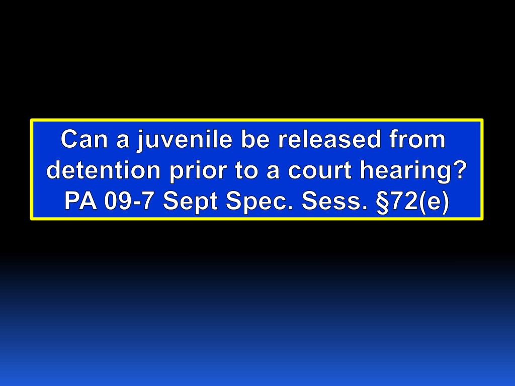Can a juvenile be released from
