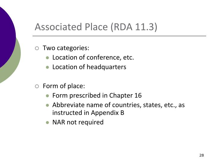 Associated Place (RDA 11.3)