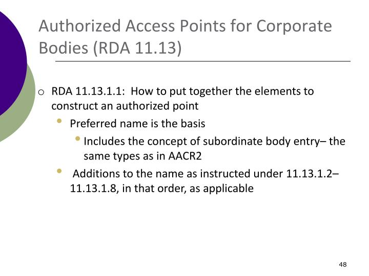 Authorized Access Points for Corporate Bodies (RDA 11.13)