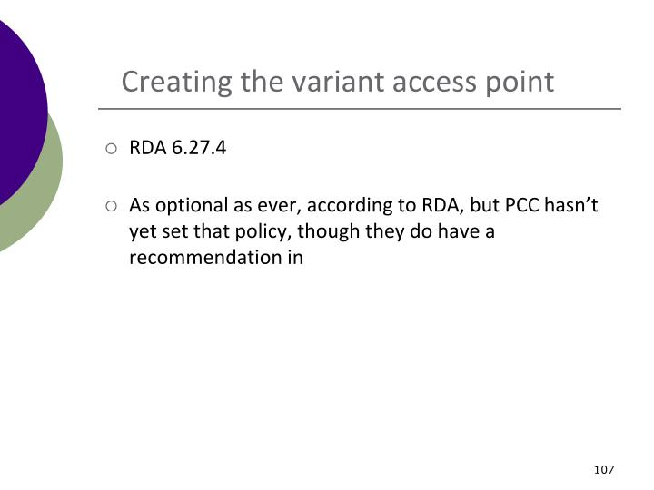 Creating the variant access point