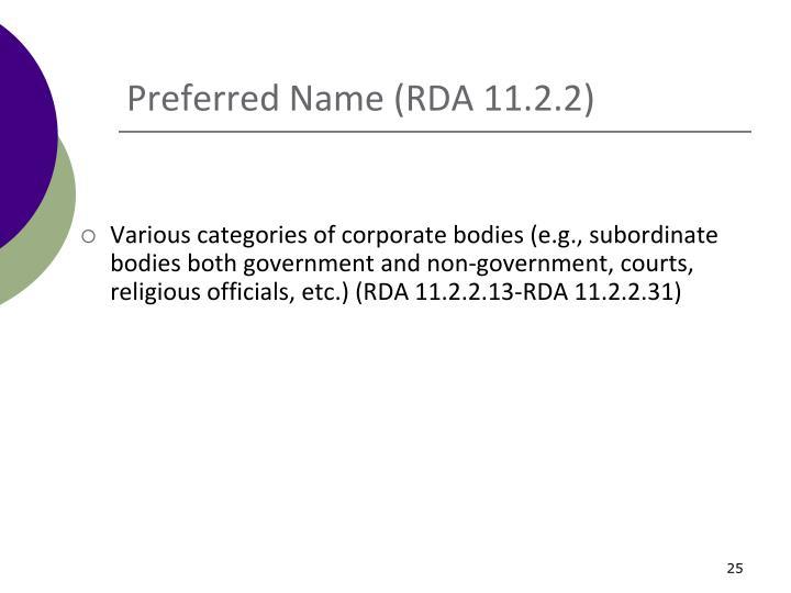 Preferred Name (RDA 11.2.2)