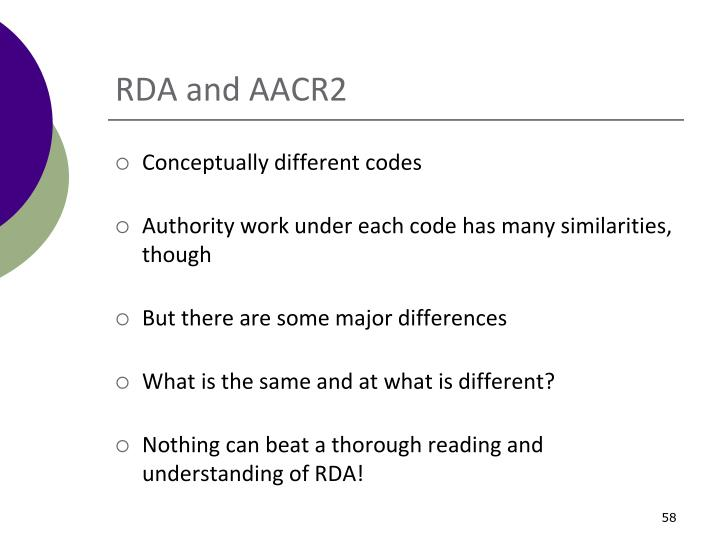 RDA and AACR2