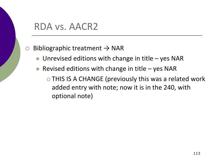 RDA vs. AACR2