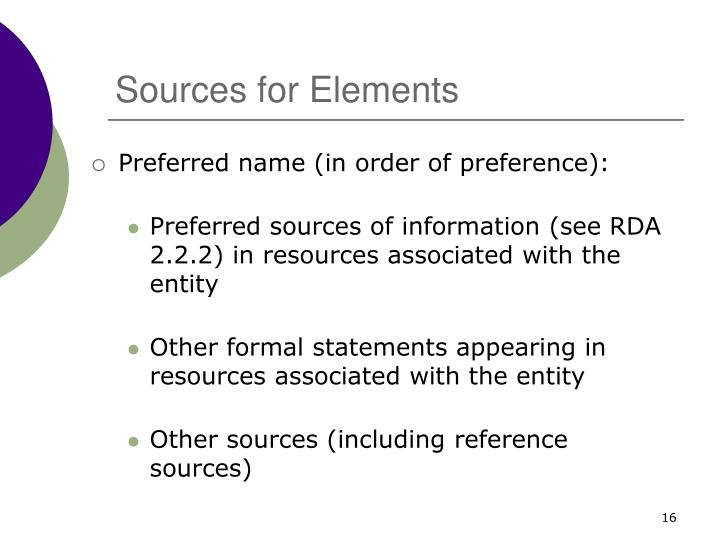 Sources for Elements
