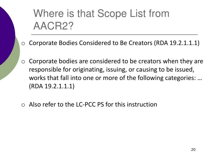 Where is that Scope List from AACR2?