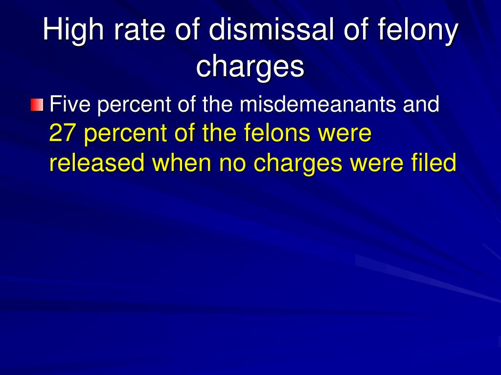 High rate of dismissal of felony charges
