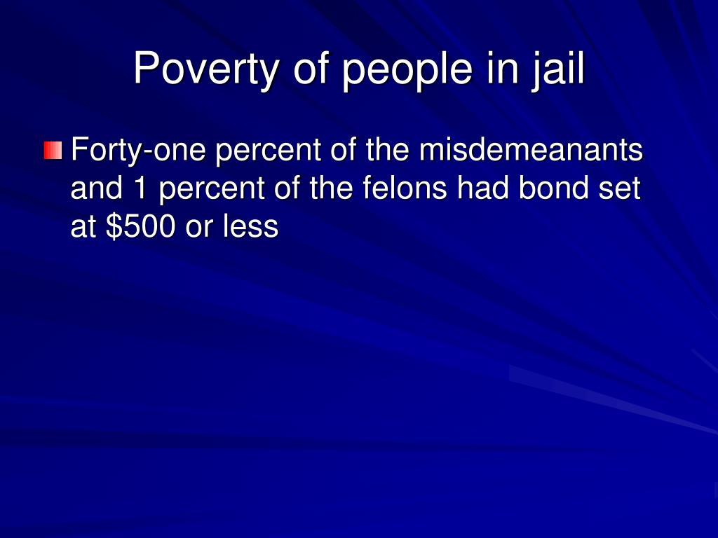Poverty of people in jail