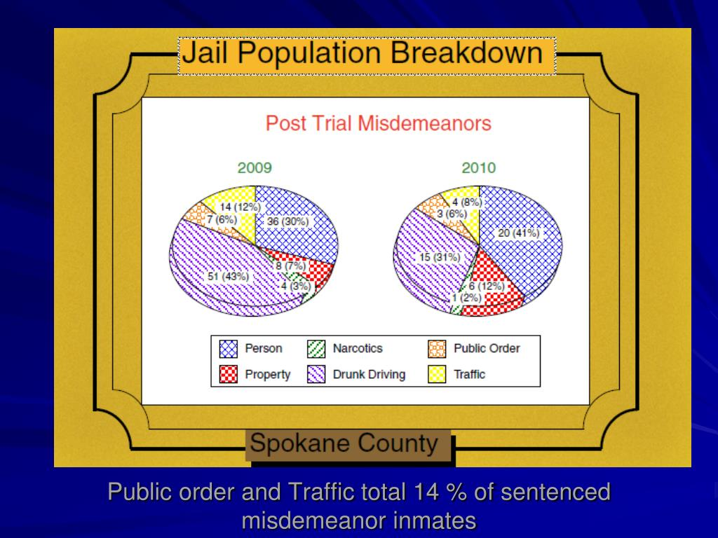 Public order and Traffic total 14 % of sentenced misdemeanor inmates