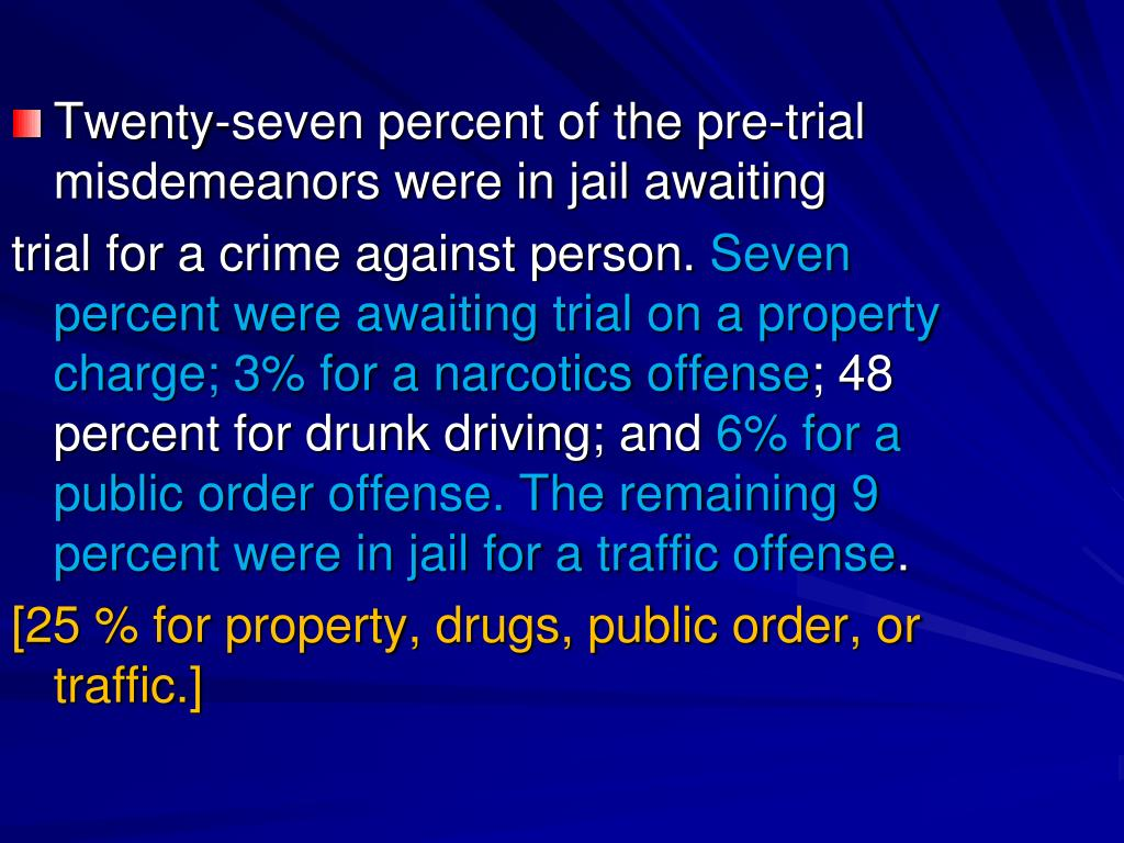 Twenty-seven percent of the pre-trial misdemeanors were in jail awaiting