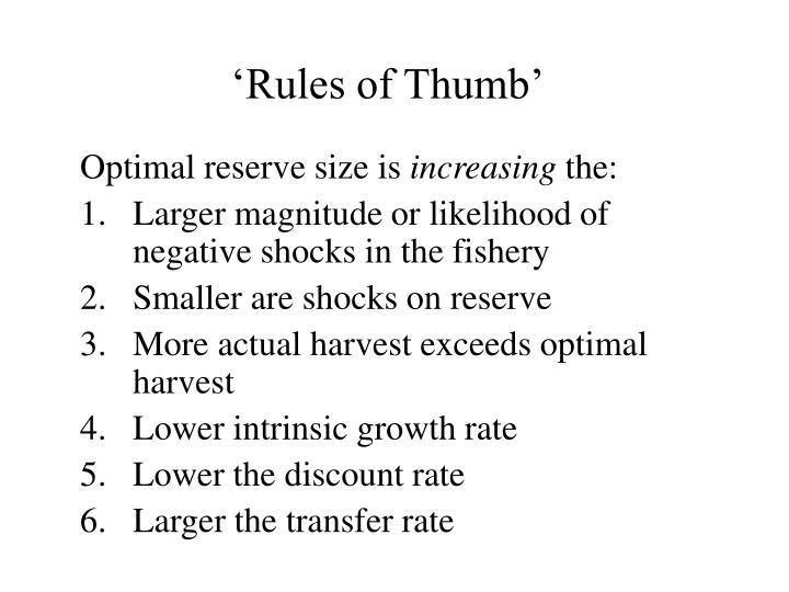 'Rules of Thumb'