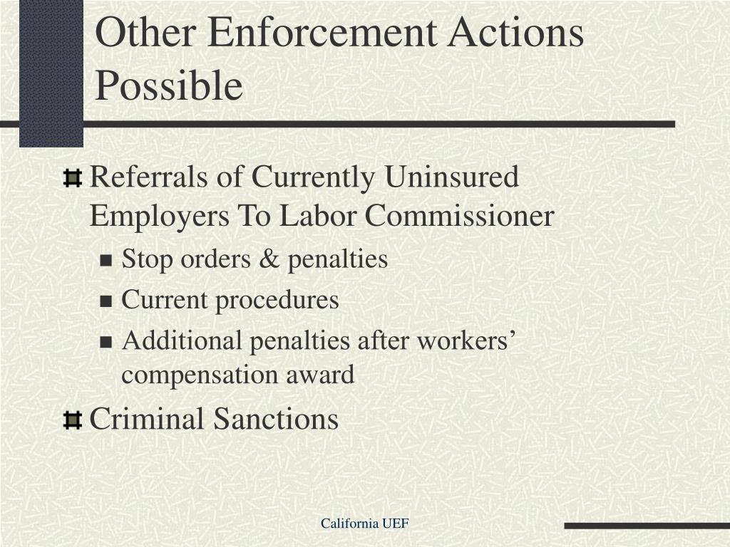 Other Enforcement Actions Possible