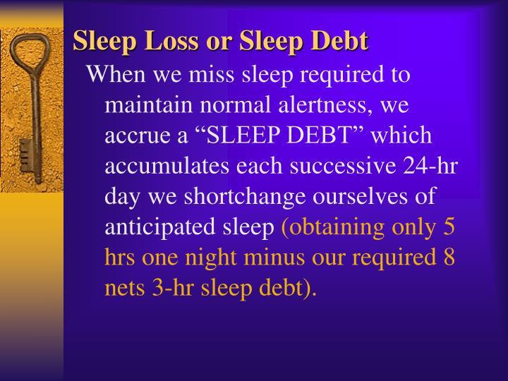 Sleep Loss or Sleep Debt