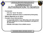 commander s authorization to search