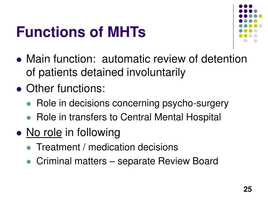Functions of MHTs
