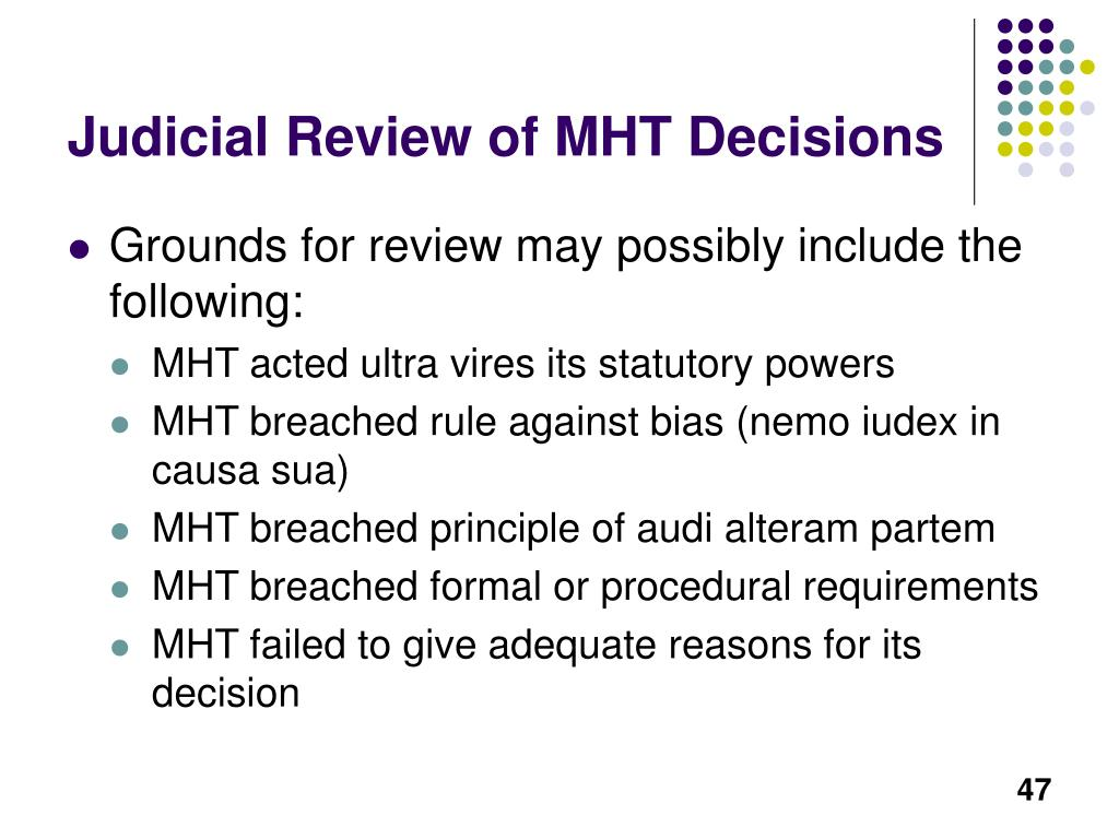 Judicial Review of MHT Decisions