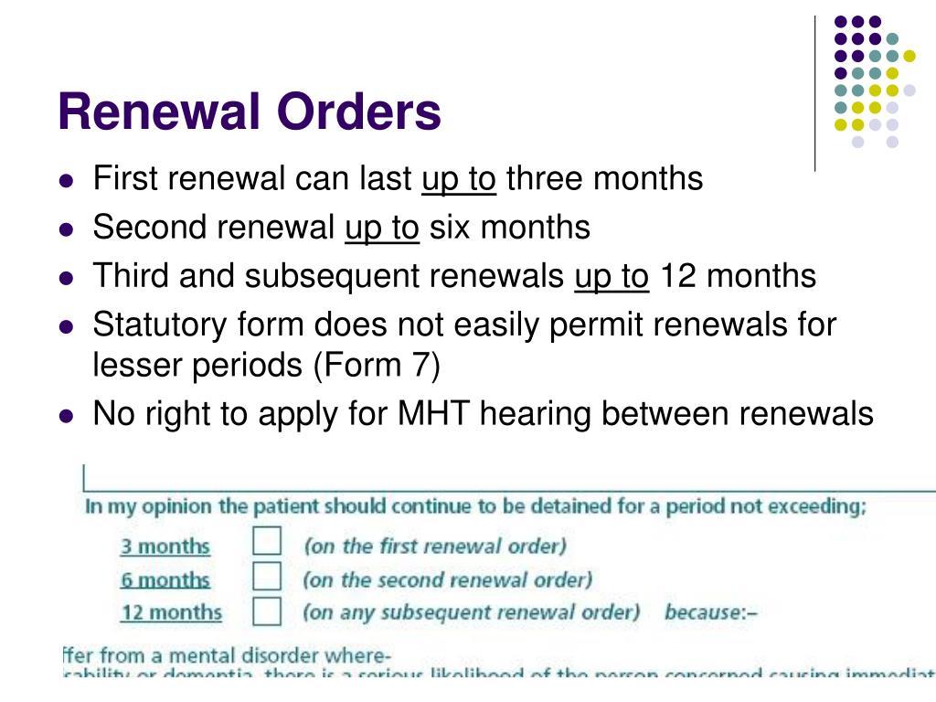 Renewal Orders