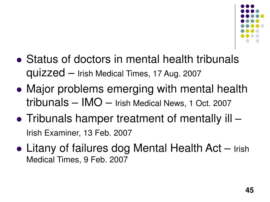 Status of doctors in mental health tribunals quizzed