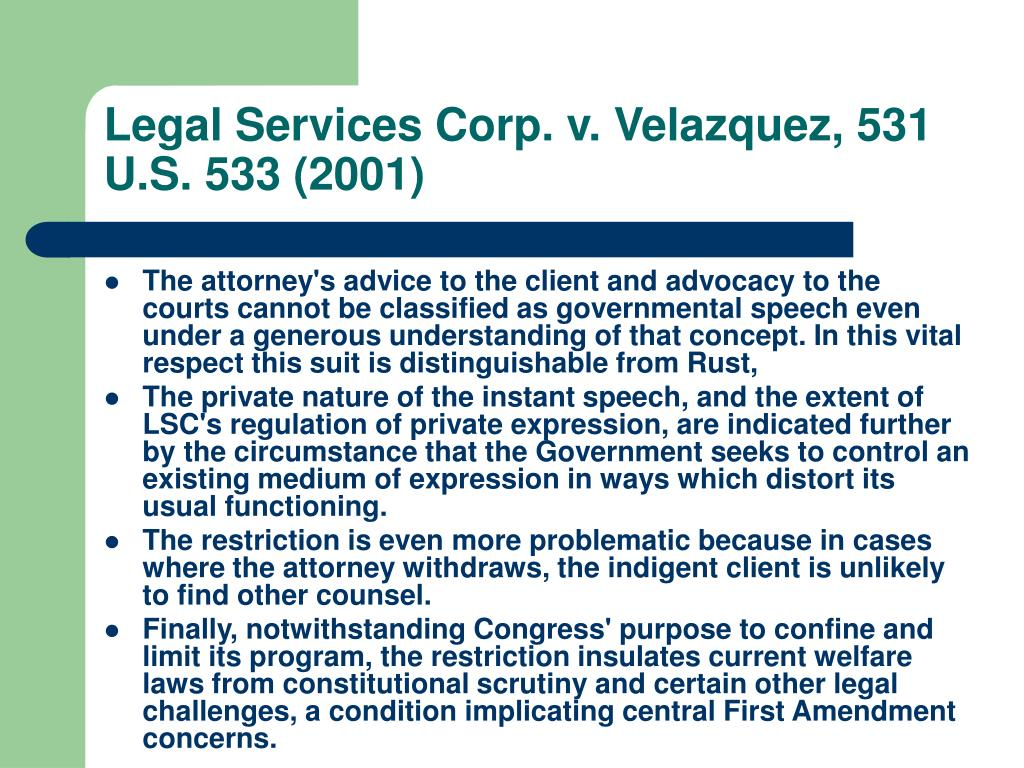 Legal Services Corp. v. Velazquez, 531 U.S. 533 (2001)