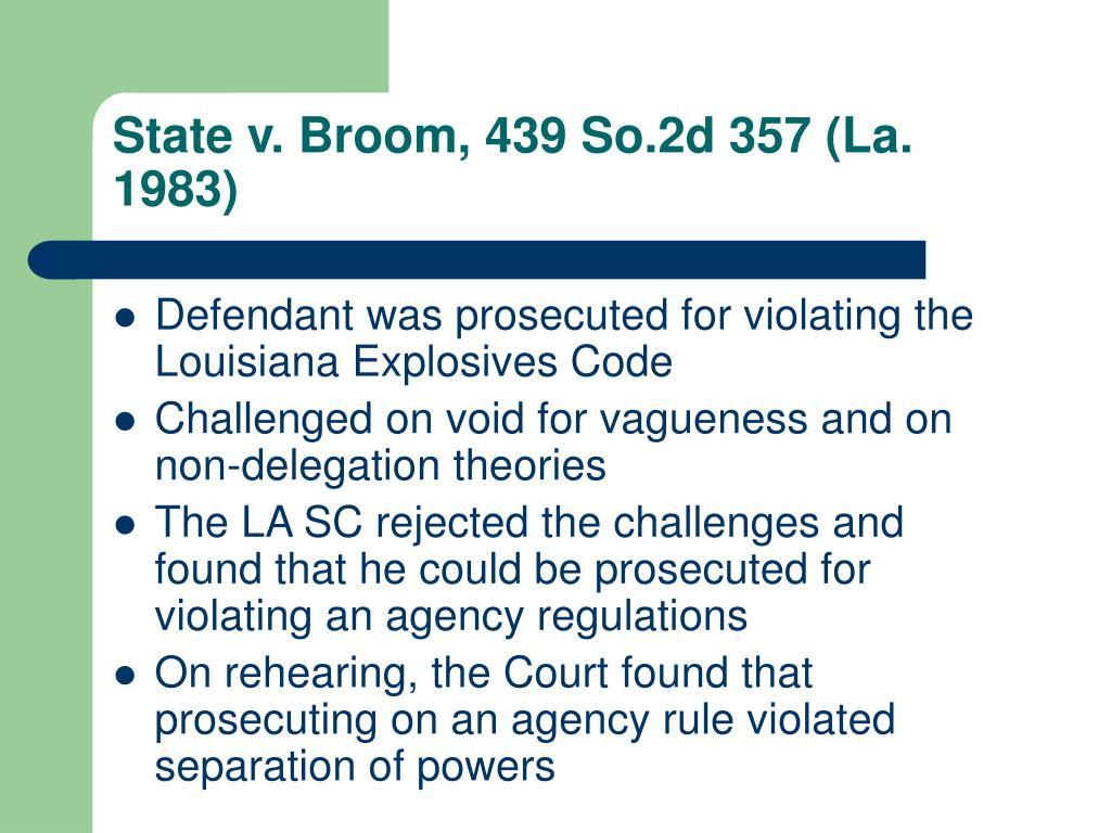 State v. Broom, 439 So.2d 357 (La. 1983)