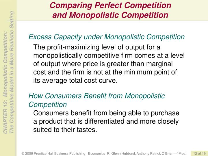 Comparing Perfect Competition