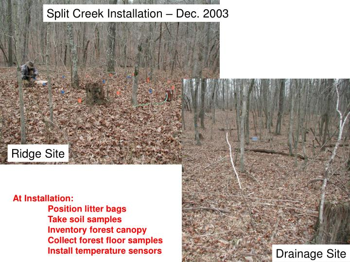 Split Creek Installation – Dec. 2003