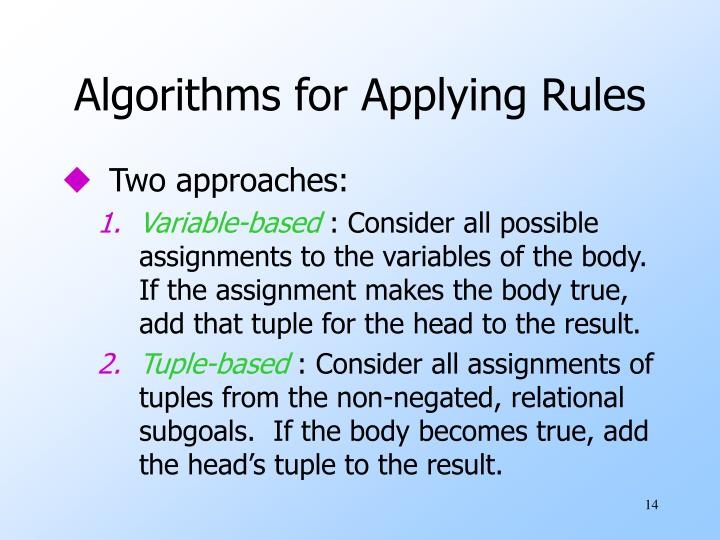 Algorithms for Applying Rules