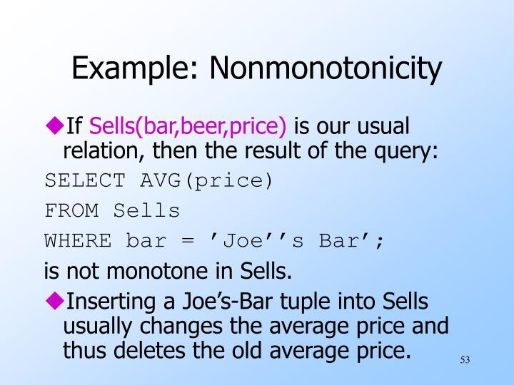 Example: Nonmonotonicity