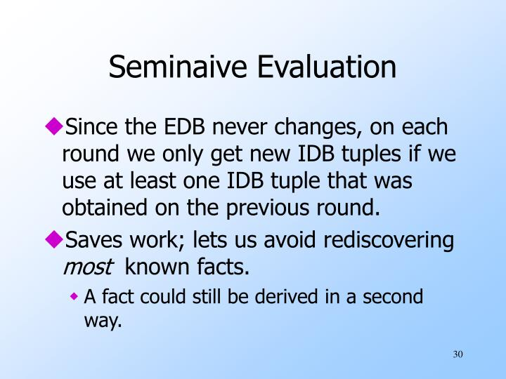 Seminaive Evaluation