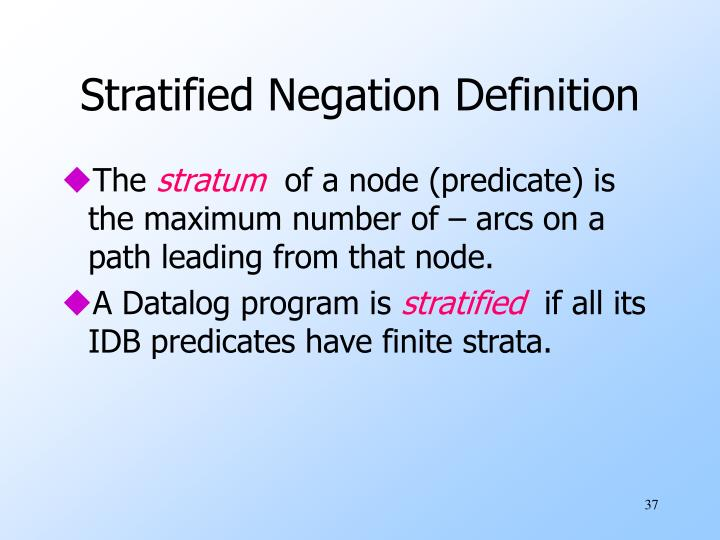 Stratified Negation Definition