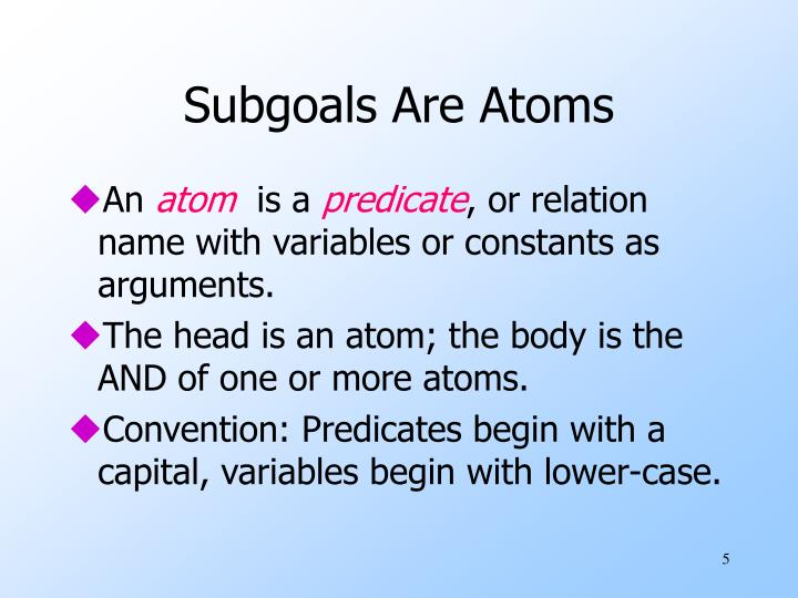 Subgoals Are Atoms