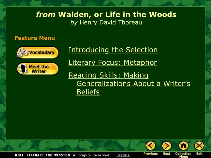 From walden or life in the woods by henry david thoreau