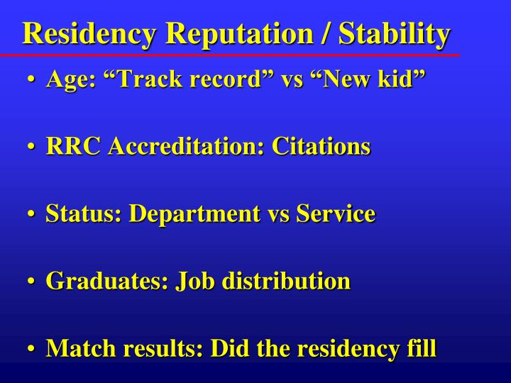 Residency Reputation / Stability