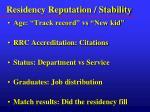 residency reputation stability