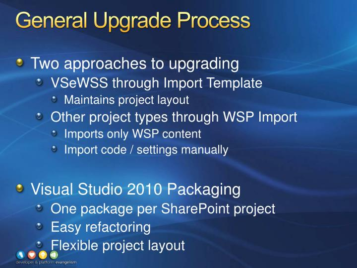 General upgrade process