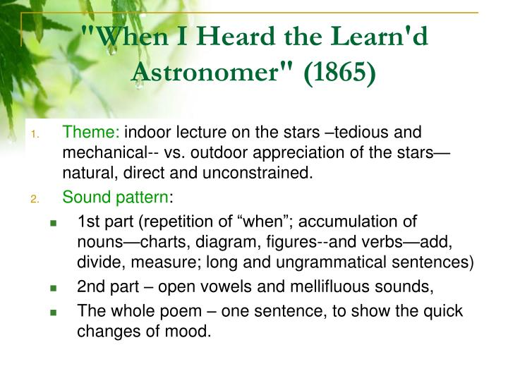 """When I Heard the Learn'd Astronomer"" (1865)"