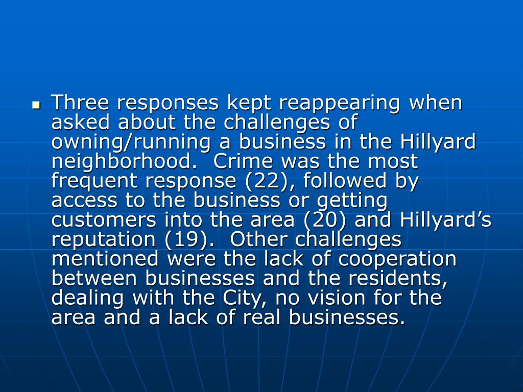 Three responses kept reappearing when asked about the challenges of owning/running a business in the Hillyard neighborhood.  Crime was the most frequent response (22), followed by access to the business or getting customers into the area (20) and Hillyard's reputation (19).  Other challenges mentioned were the lack of cooperation between businesses and the residents, dealing with the City, no vision for the area and a lack of real businesses.