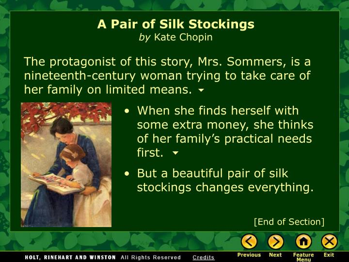 A Pair of Silk Stockings: Mrs. Sommers Analysis