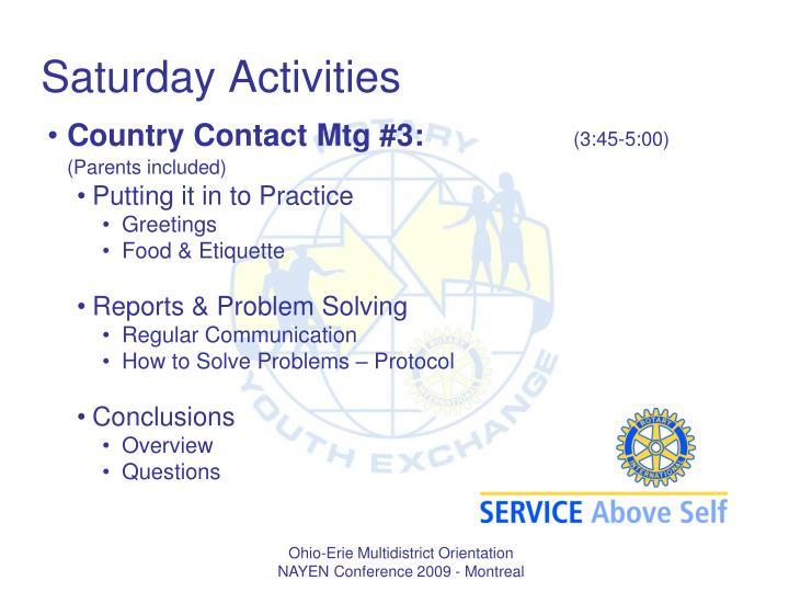 Saturday Activities