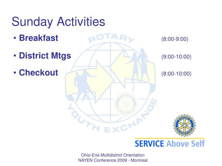 Sunday Activities