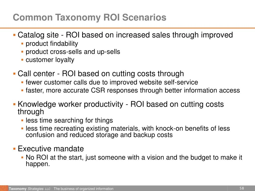 Common Taxonomy ROI Scenarios